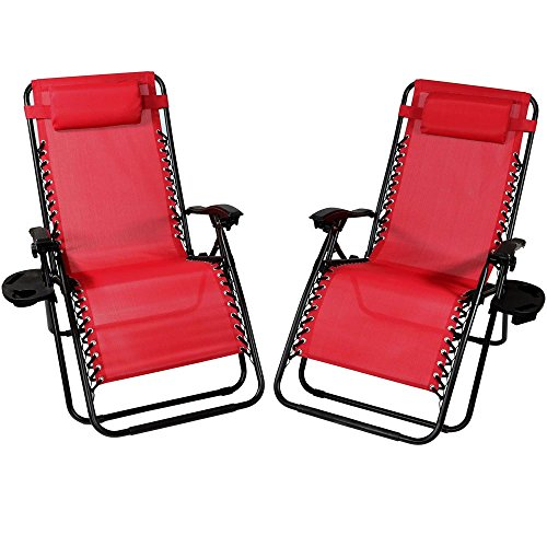 Sunnydaze Red Oversized Zero Gravity Lounge Chair with Pillow and Cup Holder, Set of Two