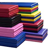 "We Sell Mats 1.5"" and 2"" Thick 4x8 Gymnastics Tumbling Exercise Folding Martial Arts Mats with Hook and Loop Fasteners on All 4 Sides Highest Quality Crosslink Polyethylene Foam Core-16 COLOR/SIZE OPTIONS"