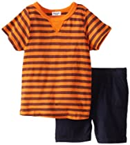 Splendid Littles Baby-Boys Infant French Stripe Raglan Crew Short Set, Howl, 12-18 Months