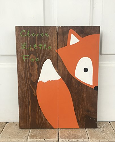[10x14 Stay Clever Little Fox Wood Sign Nursery Decor Baby Shower Gift or Baby Decor] (Wood Boo Sign)