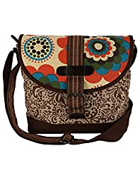 Anekaant Hybrid Women Canvas Brown and Beige Messenger bag