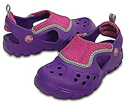 crocs Micah II Sandal Kids Flip Flop (Toddler/Little Kid), Neon Purple/Vibrant Violet, 10/11 M US Little Kid