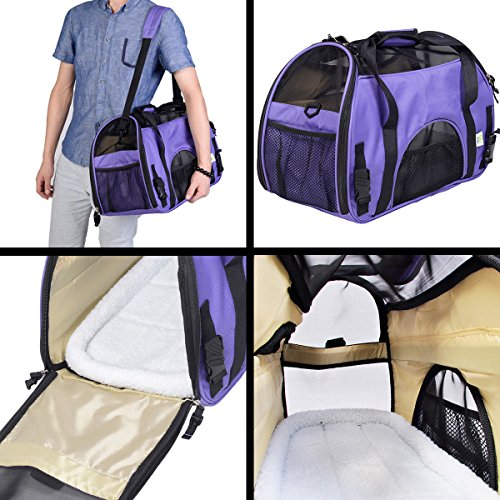 Super buy Large Pet Carrier OxFord Soft Sided Cat/Dog Comfort Travel Tote Shoulder Bag (Purple)