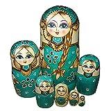 Munecas rusas de jerarquizacion - TOOGOO(R)7pcs munecas rusas de jerarquizacion de trenza de muchacha de madera matryoshka munecas tradicionales regalo deseado verde