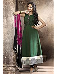 Utsav Fashion Women's Dark Green Poly Cotton Readymade Anarkali Churidar Kameez-X-Large