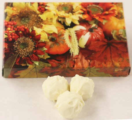 Scott's Cakes Tropical Fruit Mix-Mango, Guava, and Passion Fruit White Chocolate Truffles in a 8 oz. Fall Leaf Box