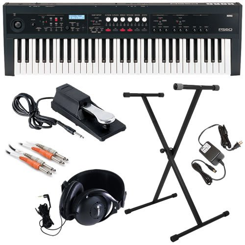 Korg PS60 Synthesizer ESSENTIAL BUNDLE w/ Stand, Pedal & Headphones