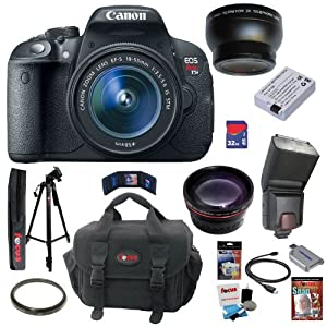 Canon EOS Rebel T5i 18.0 MP CMOS Digital Camera with EF-S 18-55mm f/3.5-5.6 IS STM Zoom Lens + Automatic TTL Flash + Telephoto & Wide Angle Lenses + 11pc Bundle 32GB Deluxe Accessory Kit