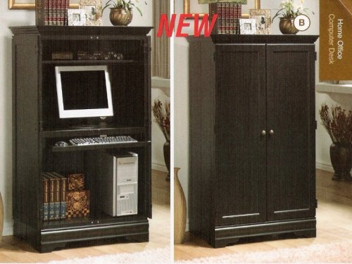 Picture of Comfortable All new item Black finish wood computer armoire cabinet (B0014B90LY) (Computer Armoires)
