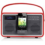 View Quest Retro Style DAB+/FM Radio with iPod/iPhone Dock, LCD Backlit Screen and AUX-In - Red