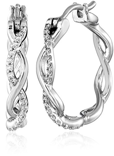 Sterling Silver and Diamond Hoop Earrings (1/10 cttw, I-J Color, I2-I3 Clarity)