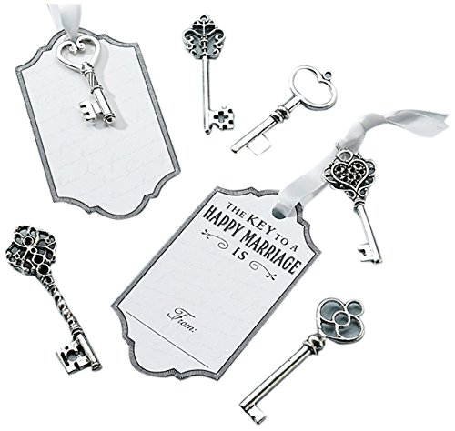 Lillian Rose Key Tags, Silver, Set of 24