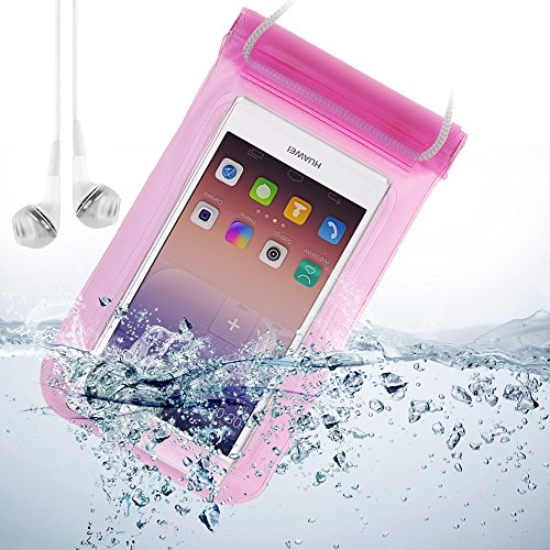 Universal Waterproof Bag Case For Huawei Ascend P7 / P6 / Ascend D2 / Ascend G6 And Other Huawei Smartphone + Vangoddy White Headphone With Mic (Pink)