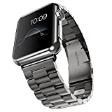 Evershop®Apple Watch Band 38mm Stainless Steel Strap Wrist Band Replacement Metal Clasp for Apple Watch All Models 38mm(Stainless Steel Strap-38mm Black)