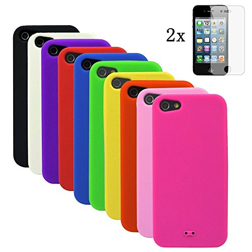 Vandot 12 In1 Accessory Set Multi Colored Gel Soft Matte Silicone Case For 2014 Apple Iphone 6 (4.7 Inches) Smartphone Case Cover Back Cover Case Shell Protective Bumper Cover - Black Yellow Green Orange Red Pink Blue White (Flexible Color) + 2X Screen Pr front-854898