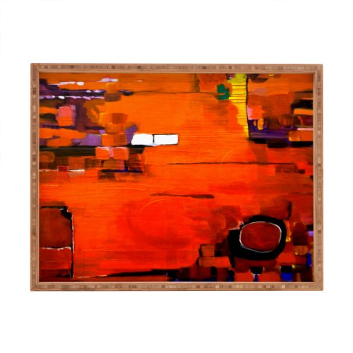 Deny Designs Robin Faye Gates Abstract Orange 1 Pet Tray back-934612
