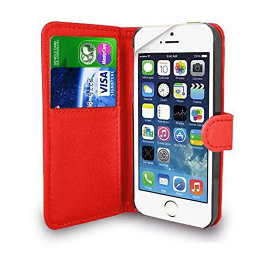 TypeandColor® Red Leather Flip Wallet Slim Case Cover Pouch With Card Holder For Apple iPhone SE 5 / 5S + Free Screen Protector With Polishing Cloth And Stylus Pen (Red)