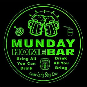 4x ccq31723-g MUNDAY Family Name Home Bar Pub Beer club Gift 3D Coasters