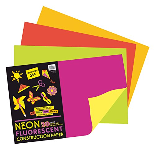 Pacon Neon Construction Paper, Heavyweight, 12 x 18 Inches, Assorted, 20 Sheets (104303) - 1