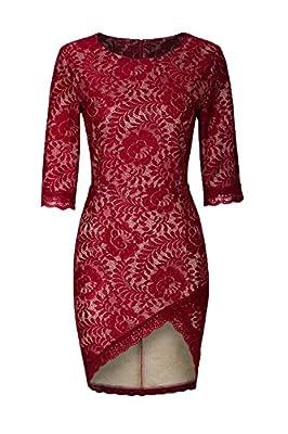 Womdee(TM) Women Vintage Floral Lace Half Sleeve Scoop Neck Slim Party Cocktail Dress