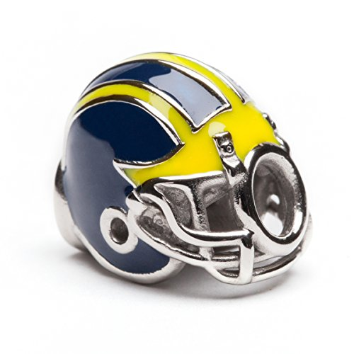 UM Wolverines Football Helmet Bead Charm - Fits Pandora & Others