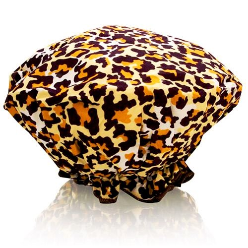 Spa Sister Bouffant Shower Cap, Leopard Print.