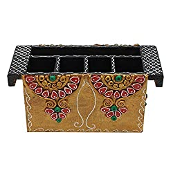 999Store beautifully wooden crafted hand painted multicolour cutlery stand holder