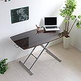 昇降テーブル 昇降式テーブル リフティングテーブル 完成品 ローテーブル テーブル 120cm ガス圧昇降式 鏡面テーブル 北欧 木製 ダークブラウン HK002DBR