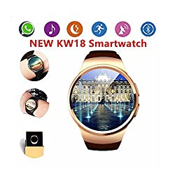 Smart Watch, Bluetooth Wrist KING-WEAR KW18 Smart Watches with Camera Heart Rate Support SIM TF Card Heart Rate for Android Samsung Sony LG Smart Phones (Brown)