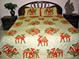 3pcs Set Camel Print Cotton Bedspread Seashell Venetian Red Indian Bed Cove ....