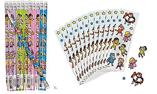 Superhero Pencils and Sticker Set (24 Pencils) - (2 Dozen Stickers) Party favors/School Supplies/Stationary