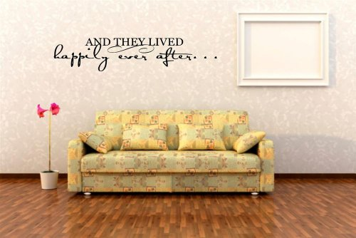 Design with Vinyl Design 122 And They Lived Happily Ever After Wall Sticker Decal, 10-Inch By 30-Inch, Black