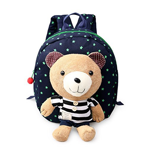YST Cartoon Kindergarten Baby Shoulder Bag Children Safety Harness Backpack (Stripe Bear Purplish Blue)