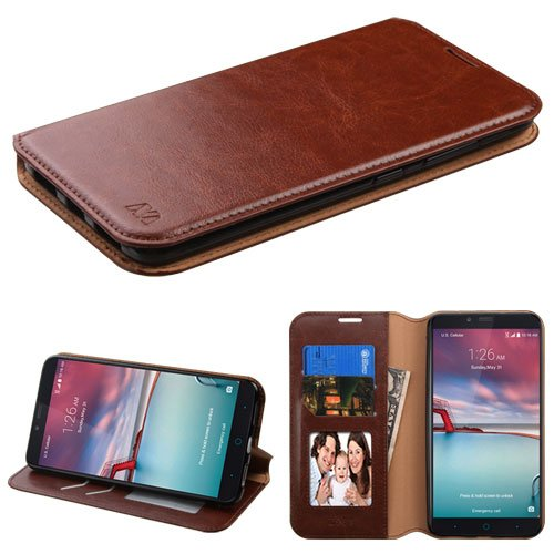 ZTE Zmax Pro Case (MetroPCS/T-Mobile), Zmax Pro Case, ZTE Grand X Max 2 Case, BornTech PU Leather Fold stand Wallet pouch with Credit Card Slots Phone Cover Case (Brown) (Zte Zmax Phone Case T Mobile compare prices)