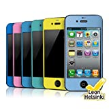 REALOOK Apple iPhone 4S / 4 Leon (Decorative) Screen Protector for front and back - Solid, Mint