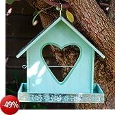 Gardens2you - Mangiatoia per uccelli con supporto mela a forma di cuore, dipinta in colore verde chiaro