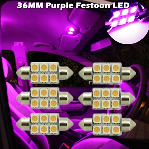 Partsam 6 X Ultra Purple Led Bulbs 36Mm Festoon 6Smd Dome Map Light For 2008-2010 Dodge Challenger