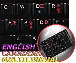 ENGLISH-CANADIAN MULTILINGUAL NON-TRANSPARENT NEW KEYBOARD STICKERS BLACK BACKGROUND
