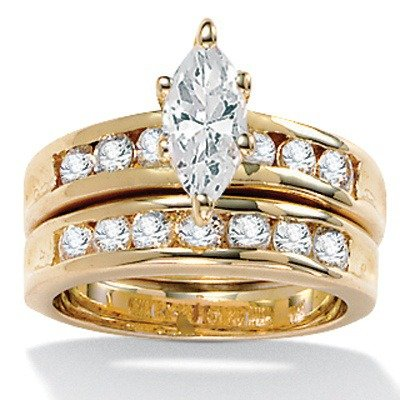 Gold Plated Marquise-Cut and Round Cubic Zirconia Wedding Set Size: 9