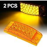 Partsam 2pcs Amber LED Rectangle Tail Stop Marker Light Trailer Truck RV 3 Wires 21LED