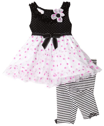 Bonnie Baby Knit Top To White Mesh Skirt With Pink Dots To Stripe Capri Bottom , Black/White, 18 Months