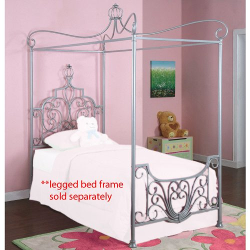 Powell Princess Rebecca Sparkle Silver Canopy Bed Twin