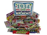 80th Birthday Gift Basket Box 1934 - Retro Nostalgic Candy