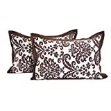 Swayam Drape And Dream Printed Cotton 2 Piece Pillow Cover Set - Choco (PC02-9009 )
