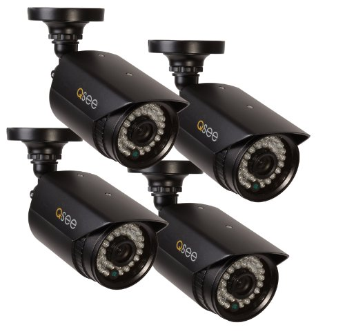 Q-See QM9702B-4 High-Resolution 960H/700TVL Weatherproof Cameras with 100-Feet Night Vision, 4 Pack (Black)