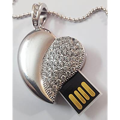 Anyusb032A Fancy Jewellery Studded Silver Heart Shape Pen Drive (8 Gb) + Exclusive Hand Made Gift Box