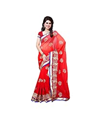 Diva Fashion-Red-Color-Georgette-Party-Wear-Saree