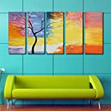 999Store abstract tree painting Modern Decorative Artwork Oil Paintings on Canvas Wall Art for Home Decorations -5 Frames