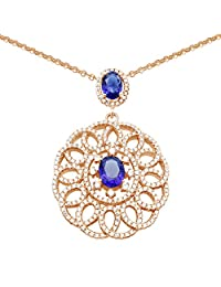 Pink Gold Plated Sterling Silver Simulated Diamonds And Sapphire Inspired Gemstone Pendant