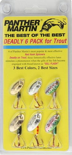 Panther Martin Best of the Best Red Hook Spinner Fishing Lure Kit, Pack of 6